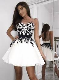 A-line <b>Black Lace Appliques</b> Sleeveless White <b>Short</b> Homecoming ...