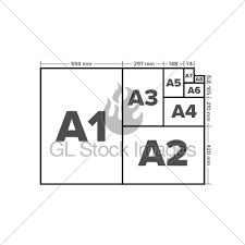 A7 Size Paper Sizes Vector A1 A2 A3 A4 A5 A6 A7 A8 Paper Gl