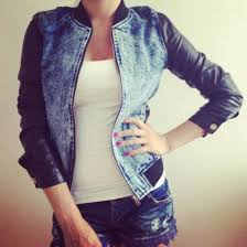 leather sleeves jacket teddy jacket baseball jacket denim jacket acid wash trendy denim jacket leather jacket