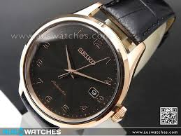 buy seiko automatic rose gold plated leather strap mens watch seiko automatic rose gold plated leather strap mens watch srp706k1 srp706