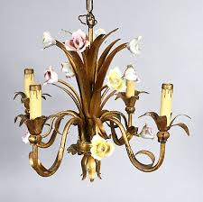 small vintage french style chandelier gilt metal with pastel porcelain flowers