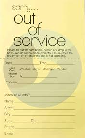out of service laundry cards pack of 100 yoo card