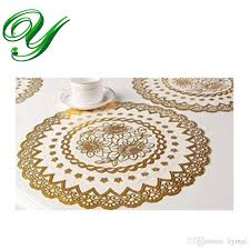 2018 gold round lace doilies crafts 5 sizes cupcake liners square rectangular table mat placemat coaster party decoration