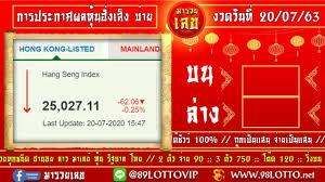 ถ่ายทอดสดผลหวยหุ้นฮั่งเส็ง บ่าย งวดวันที่ 20 กรกฎาคม 2563 ตรวจผลหวยหุ้น ฮั่งเส็ง บ่าย วันนี้ - YouTube