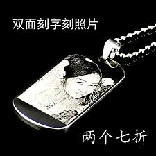 get ations dog tag engraved lettering photo personalized custom titanium steel couple of men pendant necklace brand identity