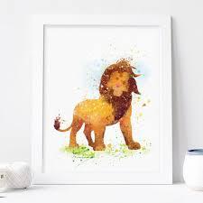 Lion King Bedroom Decorations Lion King Watercolor Print Disney Baby Boy Nursery Decor Wall