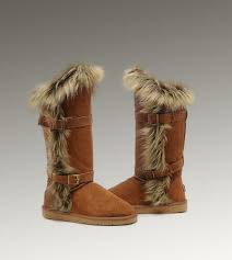 UGG Fox Fur Tall 1984 Chestnut Boots For Sale In UGG Outlet -  152.06