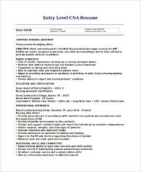 Sample Resume For Cna Sample Cna Resume 9 Examples In Word Pdf