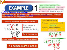 2 let x represent the first number and y represent the second number translate each sentence into an algebraic equation