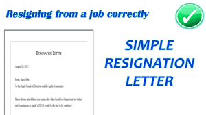 Resignation From A Job Simple Resignation Letter Resignation Letter Format With Notice