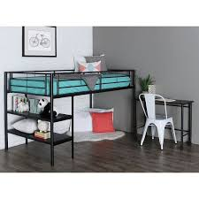 kids teens black metal twin loft bed with pull out desk casters storage shelves