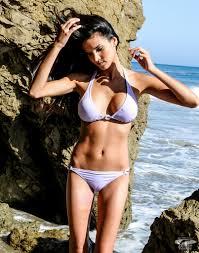 Sexy middle aged brunette in bikini