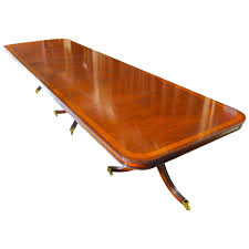 Inlaid Dining Table 14 Ft Regency Flame Mahogany Crossbanded Dining Table