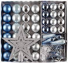 Heitmann Deco 50er Set Christbaumkugeln Christbaumschmuck Mit Stern Spitze Kunststoff Weihnachtsschmuck Blau Silber Zum Aufhängen
