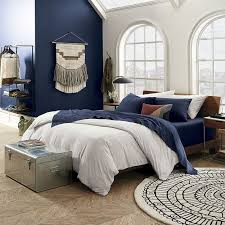 view in gallery navy organic sheets from cb2
