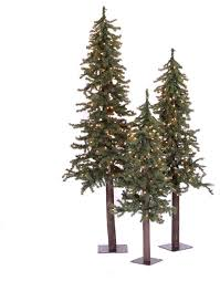Natural Alpine Artificial Trees 3-Piece Set, 2', 3', 4