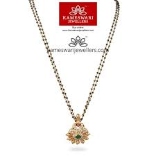 mangalsutra closed setting diamond pendant with black diamonds from kameswari jewellers