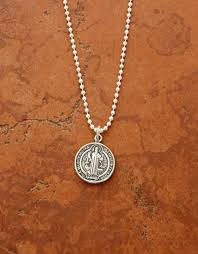 ssn27 sterling silver st benedict medal on sterling silver chain