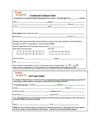Hope Projects Standing Order Form Cover The Hope Projects