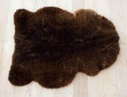 dark brown sheepskin rug