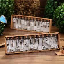 12pc box wishing bottles glass craft hanging metal miniaturas glass jar wooden cork craft birthday gift home decor in figurines miniatures