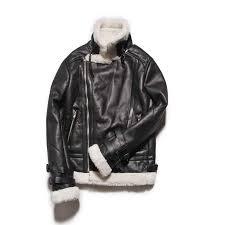 men s zipp jacket fur collar genuine leather jacket men winter