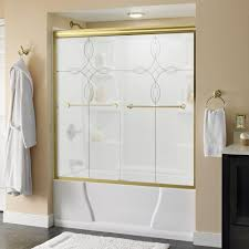 this review is from crestfield 60 in x 58 1 8 in semi frameless sliding bathtub door in brass with tranquility glass