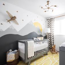 Vintage Enganging Airplane Yellow And Grey Baby Nursery Natural Decorations  Patterned Area Rugs Mountain Light Furniture Wood Cribs Hand Painting