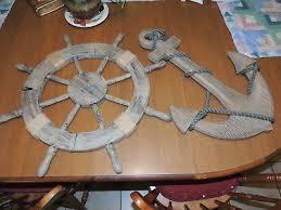 nautical boat ship steering wheel wall decor item anchor
