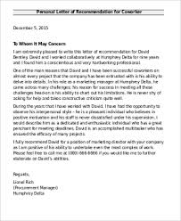 Letter Of Recommendation For 6 Sample Recommendation Letter For Coworkers Pdf Word