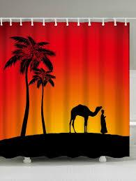 camel palm tree shadow fabric shower curtain jacinth w71 inch l79 inch