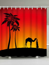camel palm tree shadow fabric shower curtain jacinth w71 inch l79 inch