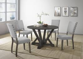 rustic gray dining table. Anna, 5 Pieces Antique Rustic Gray Round Dinette Set Dining Table