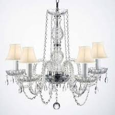 empress crystal 5 light clear crystal chandelier with white shades