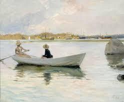 unknown artist boats in harbour by albert edelfelt