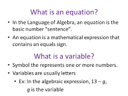 what is an equation what is a variable