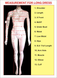 Dress Measurement Chart Measurement Chart For Womens Tailoring Instruction For