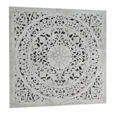 india impression white carved wood wall