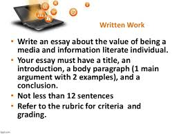 media and information literacy mil introduction to mil part  written work essay writing 28