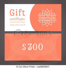 Gift Certificate Template With Logo Yoga Studio Vector Gift Certificate Template