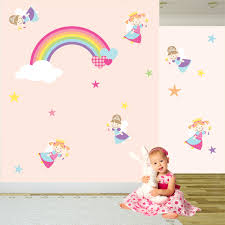 Princess Wallpaper For Bedroom Fairy Wall Decal Wall Stickers Nursery Princess Art Rainbow