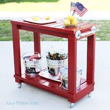 DIY rolling outdoor bar cart plans from ana-white.com