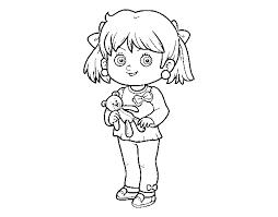 Disegno Di Bambina Con Orsacchiotto Da Colorare Acolorecom