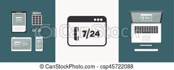 Full Time 7 24 Call Center Application Vector Flat Icon