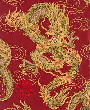 Oriental Quilt Fabric | eBay & 1 Yard: RED FIRE-BREATHING DRAGONS: Japanese Asian Oriental Quilt Fabric Adamdwight.com