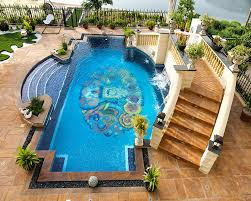 Backyard Pool Designs Landscaping Pools Delectable Amazing Geometric Pool Design With Beautiful Mosaic Tile Floor