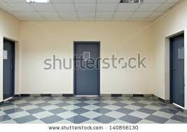modern office door. empty corridor in the modern office building door