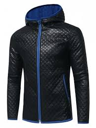 men casualfashion color block hooded rhombus embossing pu leather jacket royal jackets coats xl cottonfaux leatherpolyester nlidpv