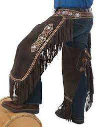 Western Chinks Chaps Spider Tooled Painted Feathers Brown Leather S M L Ebay
