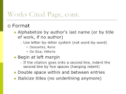 Format For Works Cited